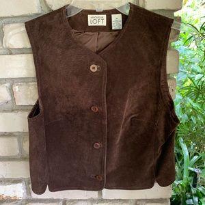 Ann Taylor loft brown leather vest